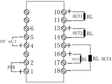 一入四出信号隔离器接线图
