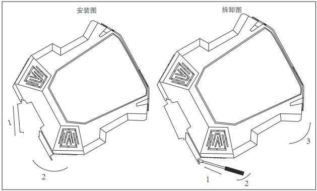 热电阻信号报警设定器安装和拆卸示意图