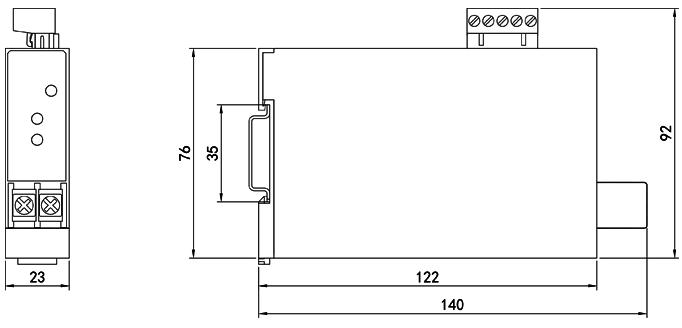 单相电流变送器外形尺寸