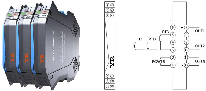 导轨安装温度变送器接线图