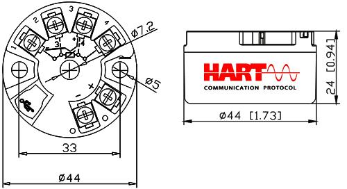 Hart溫度變送器外形尺寸圖